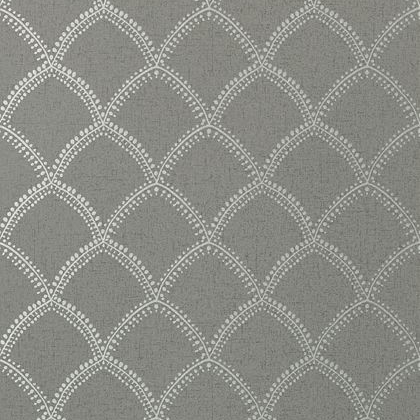 Anna French Burmese Wallpaper in Metallic Silver on Charcoal