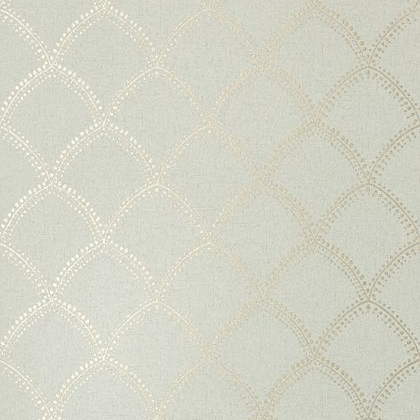 Anna French Burmese Wallpaper in Metallic on Aqua