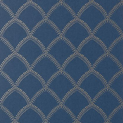 Anna French Burmese Wallpaper in Metallic on Navy