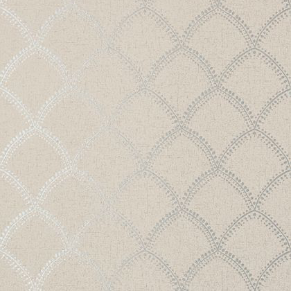 Anna French Burmese Wallpaper in Metallic on Taupe