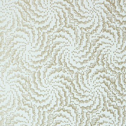 Anna French Cirrus Wallpaper in Metallic Pewter on Aqua
