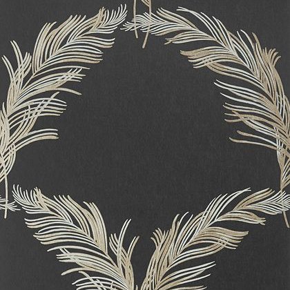 Anna French Plumes Wallpaper in Metallic Pewter on Black