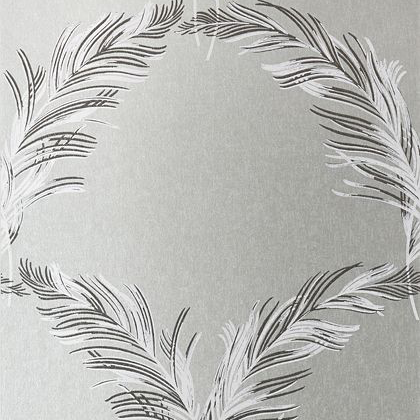 Anna French Plumes Wallpaper in Metallic Silver