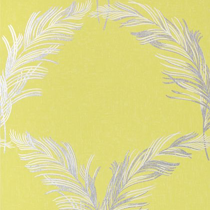 Anna French Plumes Wallpaper in Metallic Silver on Citron
