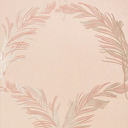 Anna French Plumes Wallpaper in Metallic on Blush