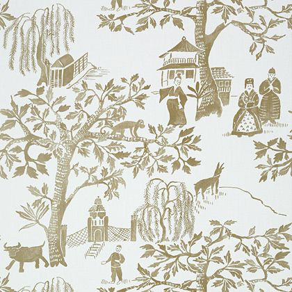 Anna French Willow Wood Wallpaper in Aqua