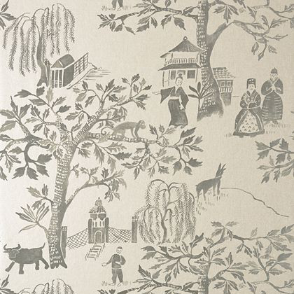Anna French Willow Wood Wallpaper in Grey on Pearl
