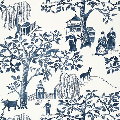 Anna French Willow Wood Wallpaper in Navy