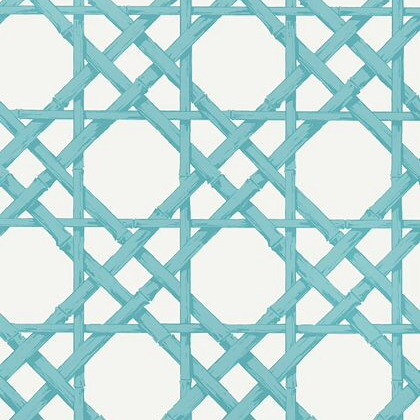 Thibaut Cyrus Cane Wallpaper in Turquoise