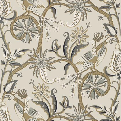 Thibaut Peacock Garden Wallpaper in Grey