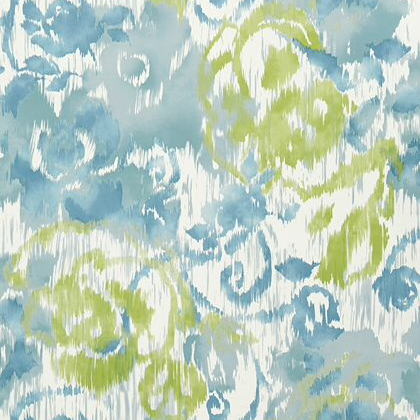 Thibaut Waterford Floral Wallpaper In Aqua And Green