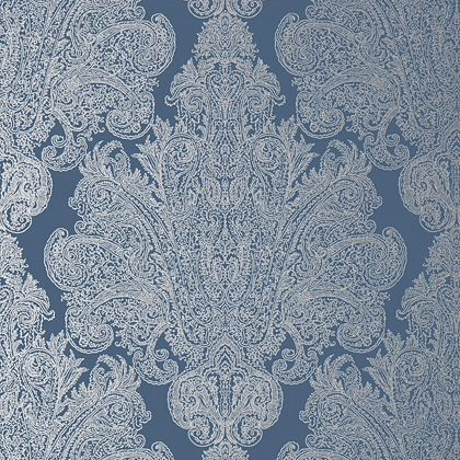 Anna French Auburn Wallpaper in Metallic Silver on Navy