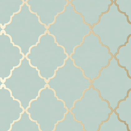 Anna French Klein Trellis Wallpaper in Metallic Gold on Aqua