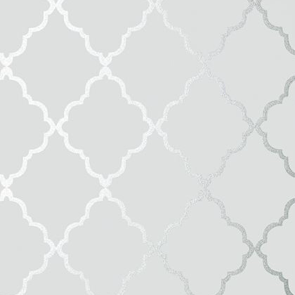 Anna French Klein Trellis Wallpaper in Silver on Grey