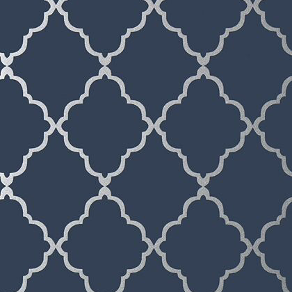 Anna French Klein Trellis Wallpaper in Silver on Navy