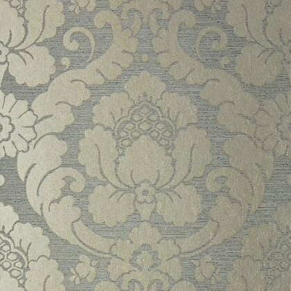 Anna French Marlow Wallpaper in Metallic Pewter and Charcoal