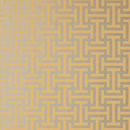 Anna French Rymann Wallpaper in Metallic Gold and Silver