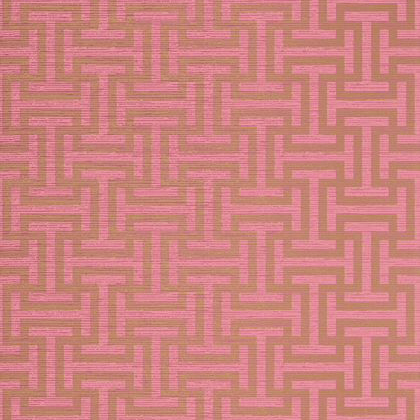Anna French Rymann Wallpaper in Metallic Gold on Pink