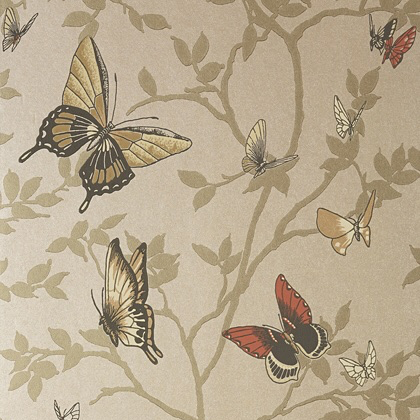 Anna French Seraphina Wallpaper in Metallic Champagne.
