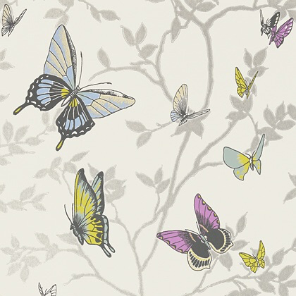 Anna French Seraphina Wallpaper in Metallic Silver.