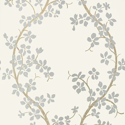 Anna French St Albans Grove Wallpaper in Silver on Cream