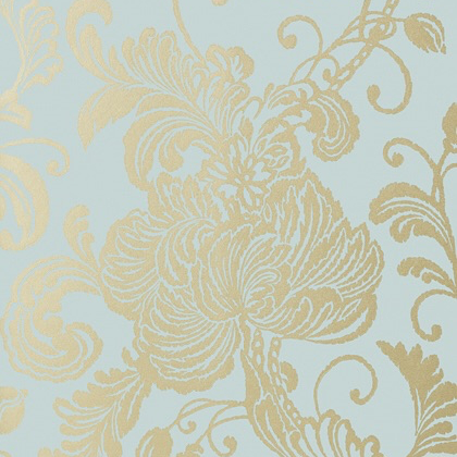 Anna French Verey Wallpaper in Metallic Gold on  Aqua