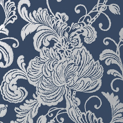 Anna French Verey Wallpaper in Silver on Navy