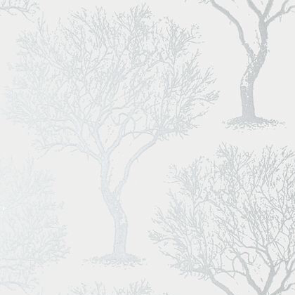 Anna French Winfell Forest Wallpaper in Silver on Grey