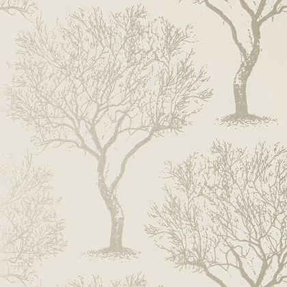 Anna French Winfell Forest Wallpaper in Silver on Neutral