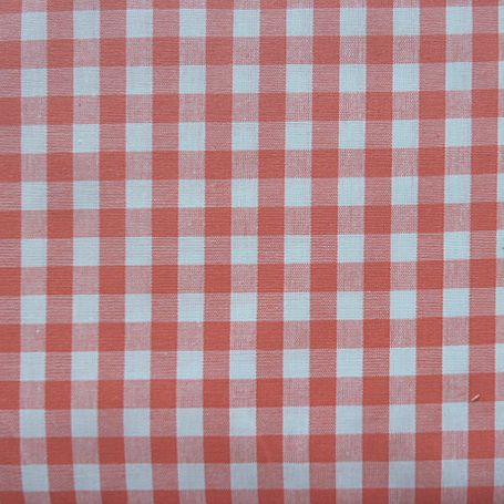 Gingham  Check  Extra Wide Oilcloth in Coral