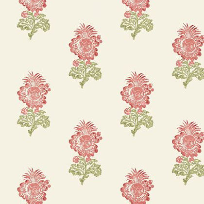 Thibaut Aldith Wallpaper in Red and Green