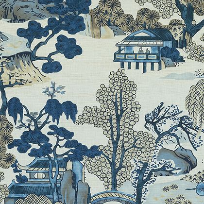 Thibaut Asian Scenic Fabric in Blue and Beige