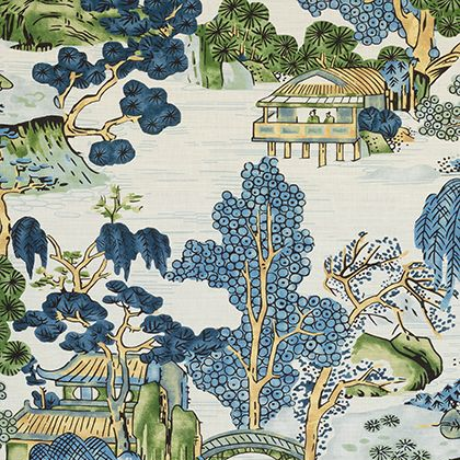 Thibaut Asian Scenic Fabric in Blue and Green