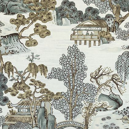 Thibaut Asian Scenic Fabric in Grey