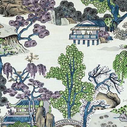 Thibaut Asian Scenic Fabric in Purple and Blue