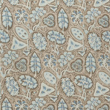 Thibaut Cochin Fabric in Aqua & Brown
