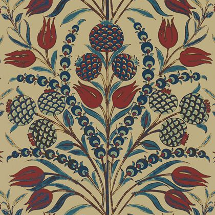 Thibaut Corneila Wallpaper in Red and Teal