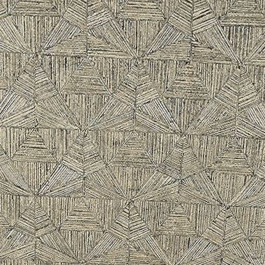 Thibaut Crystalla Wallpaper in Metallic Pewter on Black