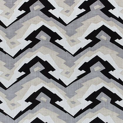 Thibaut Deco Mountain Fabric in Black and Grey