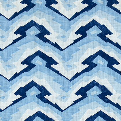 Thibaut Deco Mountain Fabric in Blue