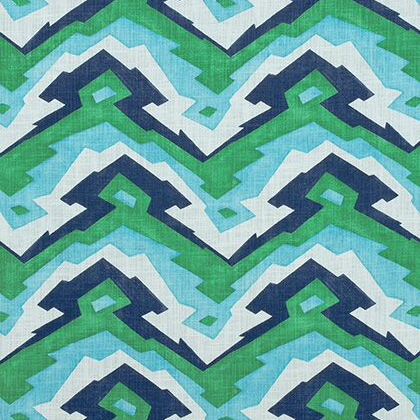 Thibaut Deco Mountain Fabric in Blue and Green