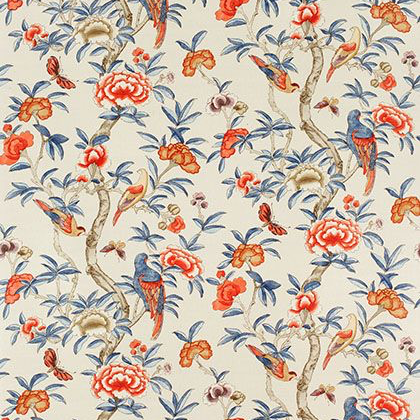 Thibaut Giselle Fabric in Blue and Coral