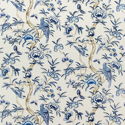 Thibaut Giselle Fabric in Blue and White