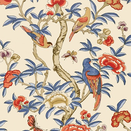 Thibaut Giselle Wallpaper in Blue and Coral