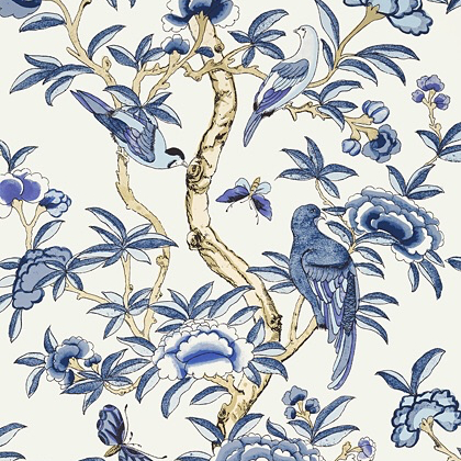 Thibaut Giselle Wallpaper in Blue and White