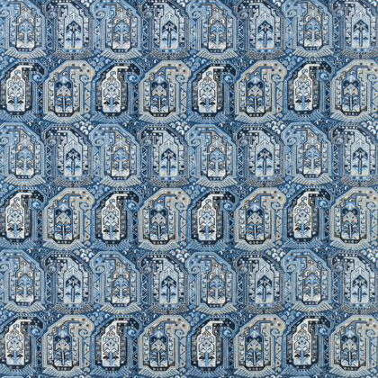 Thibaut Gleniffer Fabric in Blue and Beige