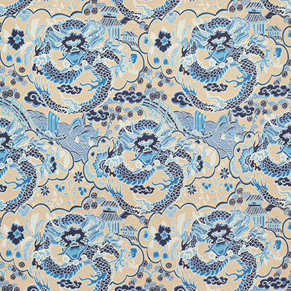 Thibaut Imperial Dragon Fabric in Blue and Tan