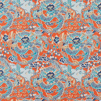 Thibaut Imperial Dragon Fabric in Coral and Turquoise