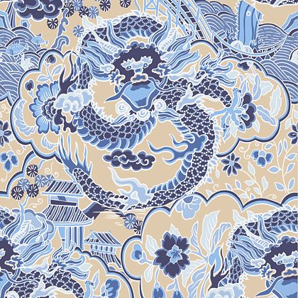 Thibaut Imperial Dragon Wallpaper in Blue / Tan