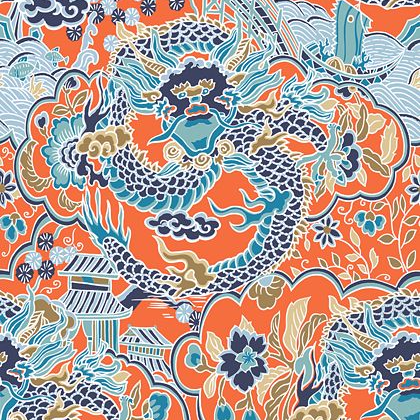 Thibaut Imperial Dragon Wallpaper in Coral / Turquoise